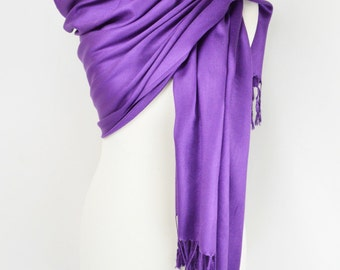 Purple Silky Plain Pashmina Shawl/Wrap/Scarf/Cover-Up-Formal/Wedding/Gift/Party/Mother of the Bride/Bridesmaid