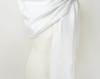 White Silky Plain Pashmina Shawl/Wrap/Scarf/Cover-Up-Formal/Wedding/Gift/Party/Mother of the Bride/Bridesmaid