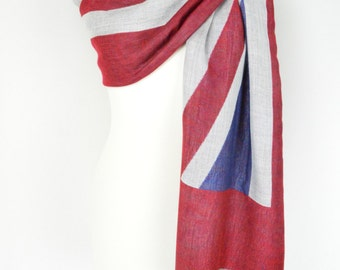 Union Jack Flag Pashmina Shawl/Wrap/Scarf/CoverUp/Formal/Wedding/Gift/Party/Elegant/Gift for Her/British Flag/Britain/England/Red White Blue