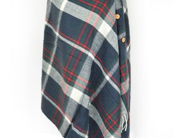 Blue Tartan Plaid Check Blanket Knit Checked Poncho Scarf/Wrap/Winter Shawl/Oversize Scarf/Chunky Scarf/Christmas Present/Teen Gift/Button