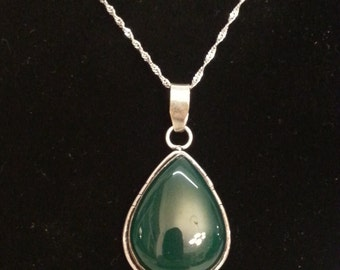 Green Onyx and silver teardrop pendant with stainless steel spiral chain.