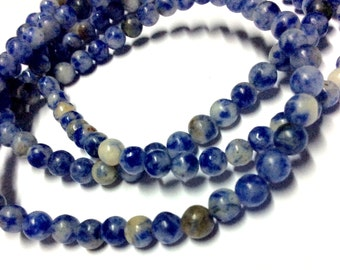 4mm Sodalite Gemstone Beads - 15.5inch Full strand - Round Gemstone Beads