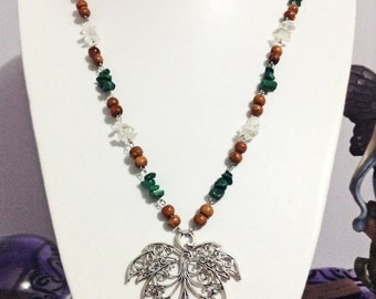 Crystal quartz and malachite leaf pendant necklace