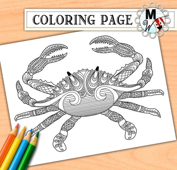 Crab coloring page for adults nautical crab by metwhimdigital for Adult coloring pages nautical