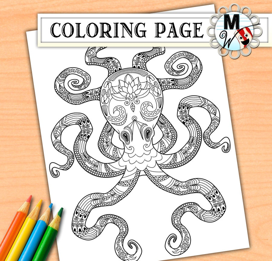 Octopus coloring page nautical lotus flower sea life for Adult coloring pages nautical
