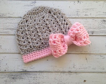 Crochet Girls Pink & Gray Bow Hat, Girl Bow Beanie, Toddler Girl Bow Hat, Crochet Girl Bow Hat, Baby Bow Hat, Girls Bow Hat, MADE TO ORDER!