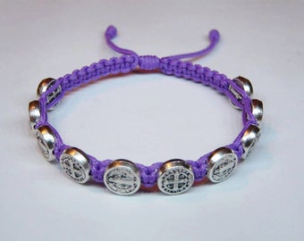 Silver St Benedict medal bracelet