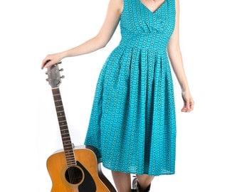 Blue and Black Geometric Print Retro 50's Cotton Dress Mid Length