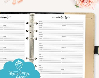 "Planner inserts A5: ""CONTACTS"" Printable planner inserts 