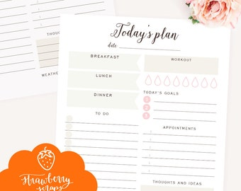 """Daily planner printable: """"TODAY'S PLAN"""" Daily schedule 