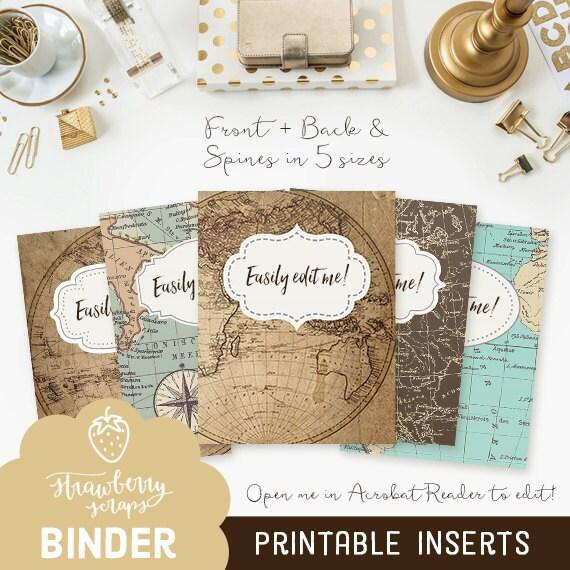 binder cover printable  vintage maps 5x set cover