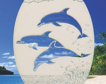"""Dolphins Jumping Oval Static Cling Window Decal 15"""" x 23"""" - White w/Clear Design"""
