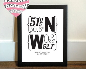 Wedding coordinates personalised print - Unframed art - Wedding gift - Modern - Wall art - Personalized - Unique gift - Map coordinates