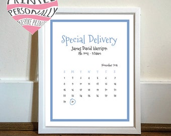 New baby personalised print - Baby girl - Baby boy - New baby gift - Pink - Blue - Calendar - Personalized date - Hello world