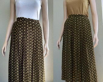 Vintage Pure Silk Olive Green Skirt with Polka Dots, Pleated, High Waist, Knee Length, 1950's, Size Small Extra Small