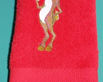 Embroidered Champagne Reindeer on red Hand Towel
