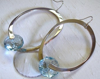 Captured Bead Earrings ~ Clear Faceted Blue Lucite Bead and Oval Hoop ~ Shepherd Hook Earrings