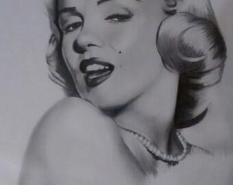 Marilyn Monroe portrait/ drawing (graphite) 11x14