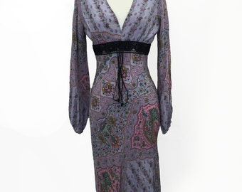 60s Lavender Paisley Dress