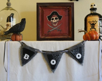 Halloween Banner, Boo Halloween, Halloween Party Decor, Wood & Burlap