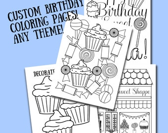 custom printable color sheets party favor birthday celebration kids color pages personalized children coloring book printable kid gift