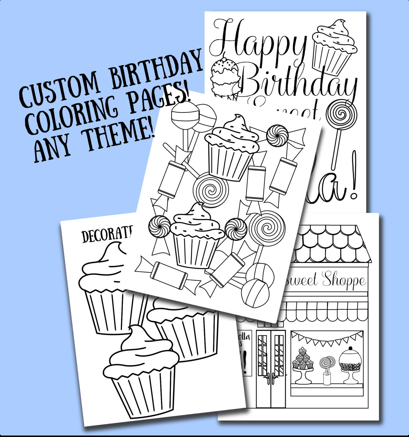 Custom printable color sheets party favor birthday for Custom coloring pages