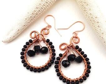 Wrapped Black Dangle Earrings