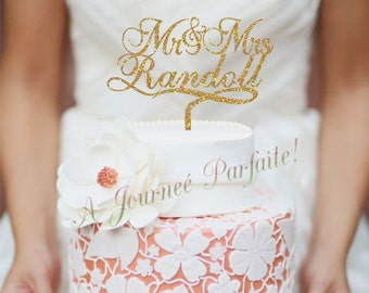 Mr & Mrs Wedding Cake Topper Personalized with Name - Custom Topper, Choice of 50 colors [AJP17]