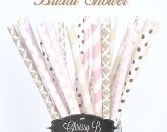 Blush Pink, Ivory and Gold Paper Straws (Bridal Shower Theme) Pack of 25 Straws  - Pink, Ivory, Gold, Damask, Dot - Bridal Shower Decor
