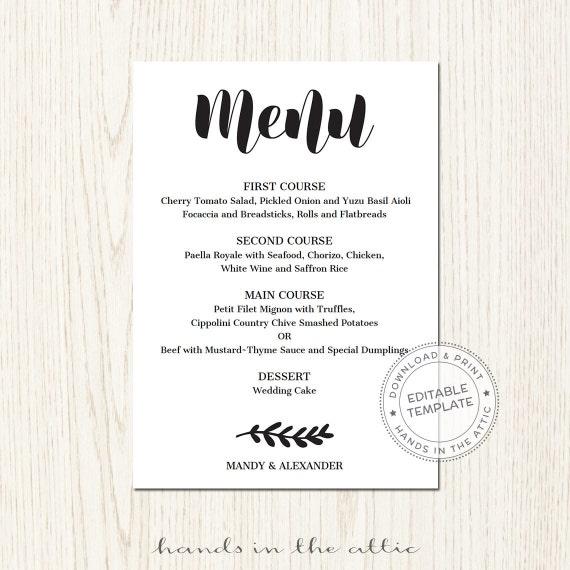 editable wedding menu template download wedding by. Black Bedroom Furniture Sets. Home Design Ideas