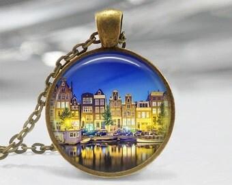Amsterdam pendant Amsterdam necklace Famous Cities of the World pendant  Amsterdam jewelry Famous Cities necklace Netherlands pendant