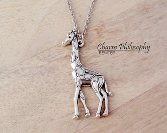 Giraffe Necklace - Antique Silver Jewelry - Large Giraffe Charm