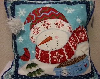 Decorative Snowman and Little Red Bird Pillow