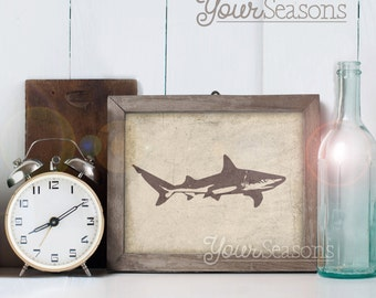 Shark Print - Rustic Wall Decor - 8x10 printable digital file - INSTANT DOWNLOAD!