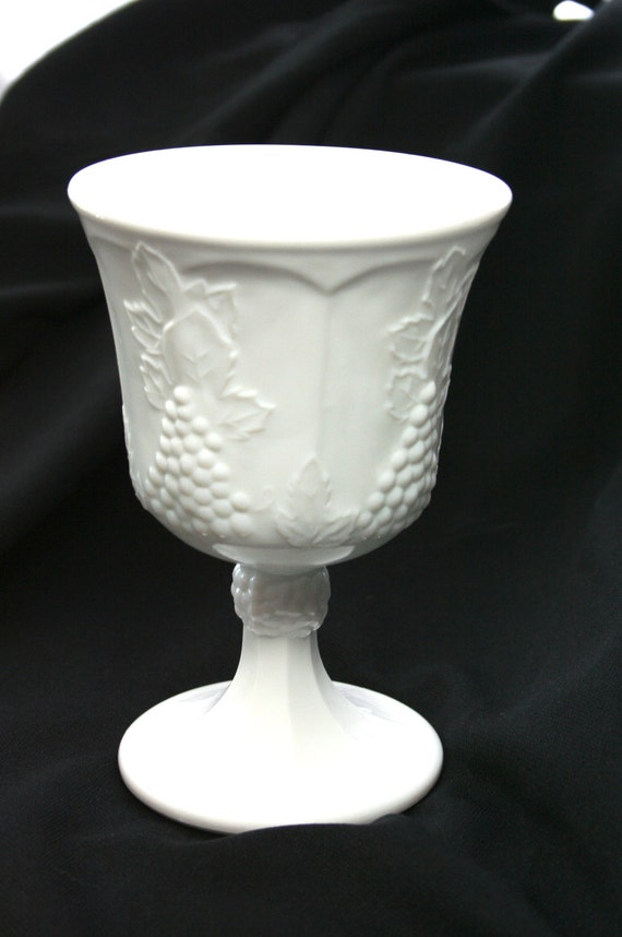 Vintage White Milk Glass Harvest Goblet with grapes and grape