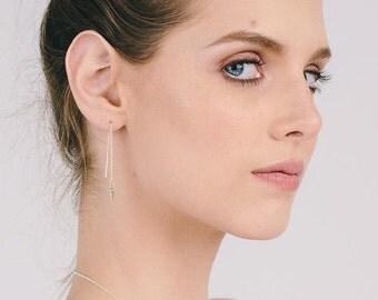 silver spike chain earrings, silver spike earrings, silver chain earrings, chain spike earrings, dainty chain earring, silver spike threader