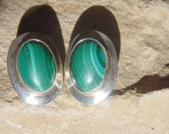 Sterling and Malachite Oval Post Earrings