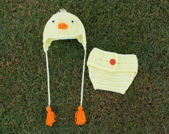 Little Chick/Duckling Baby Beanie and Diaper Cover Set