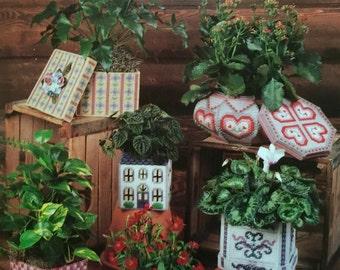 Annie's Attic Plastic Canvas Pretty Plant Pot Covers I Pattern #87G25