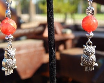 Red Agate Earrings with Owls
