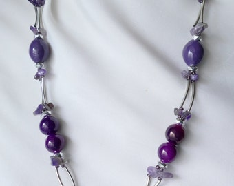 Necklace purple glass beads and fuchsia LDADPR amethyst and silver - vintage