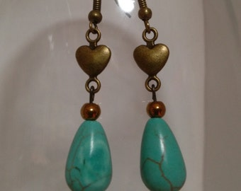 Turquoise Drops with Dainty Antique Bronze Heart Connector and Ear Hooks, Antique Bronze components