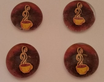 Coffee Glass Magnets (Set of 4)