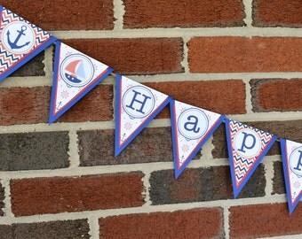 Nautical Banner, Nautical Birthday Banner, Navy Baby Shower, Nautical  Supplies, Nautical Party