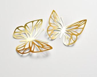 14 Gold Paper Butterflies, Gold Butterfly Wall Stickers, Butterfly Decoration, Gold Butterfly Wedding Decoration, Gold Wedding Butterflies