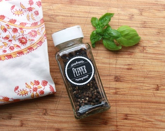 """Gourmet Spice Labels Set of 80 // 1.5"""" Printed Semi-Gloss Herb and Spice Labels // Black and White (L1.1)"""