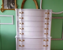 Vintage White French Provincial Drawer Dresser - Original Hardware - Romantic Shabby Chic Dresser - Can be custom painted!