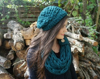 Knitted Hat | Knitted Beanie / Beret | Slouchy Hat - Variety of Colors