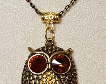 """Adorable Golden Owl on Gold and Black 20"""" Chain"""
