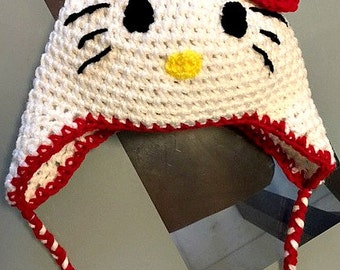 Adorable Hello Kitty Hat with Earflaps - Handmade Crocheted Hat for Newborn to Adult Sizes